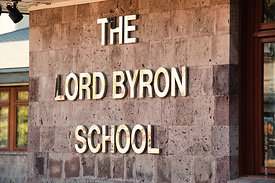 #4617,  School name plate, The Lord Byron School, Leninakan (now Gyumri), Armenia.  At 11.41am on the 7th December 1988, Arme...