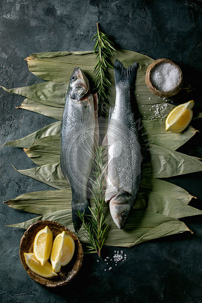 Raw uncooked fish sea bass