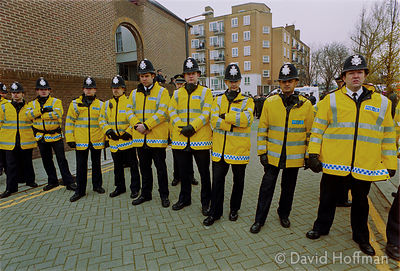 01041403-23a Police at a National Front march against immigration, Margate, Kent, 8 April 2000.