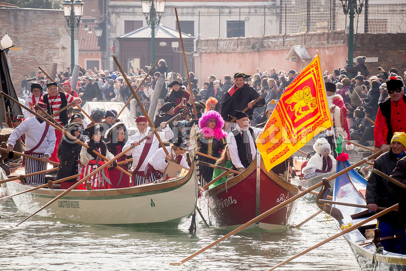 The flag of Venice in the Flotilla of the Venice Carnival Opening Water Parade