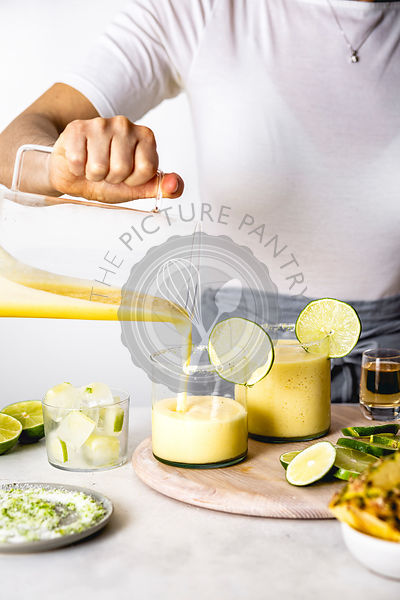 Pineapple Margarita being prepared