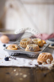 Mini buntd cakes on the table