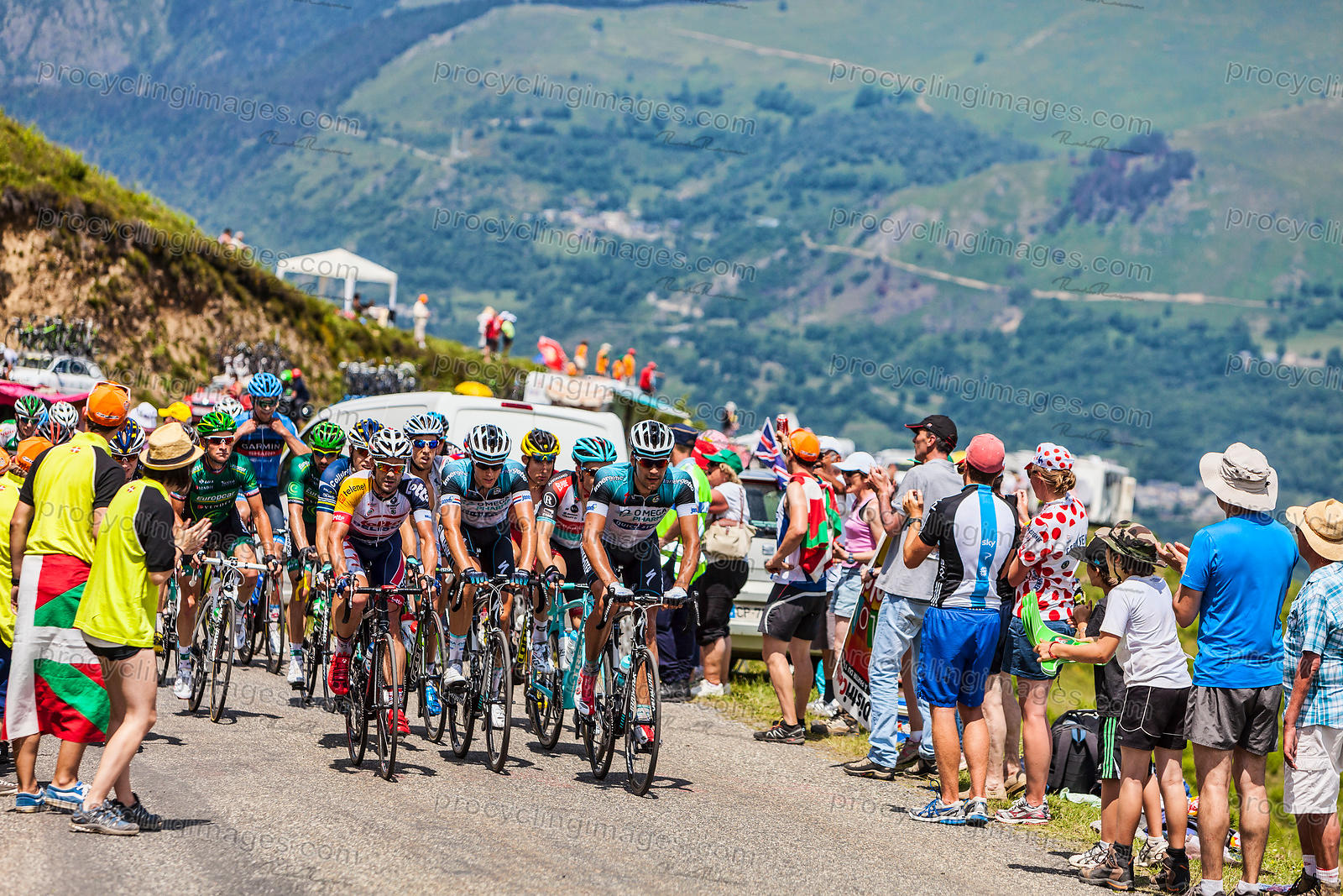 The Peloton in Pyrenees Mountains - Tour de France 2013