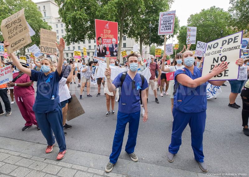 NHS nurses and staff call for fair pay outside Downing Street, London 8.8.2020