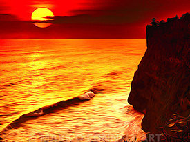 abstract, airbrush, art, bali, cliffs, indonesia, ocean, painting, red, sea, sunset, temple, water, yellow