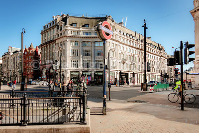 Oxford Circus on a sunny sunday afternoon just before the London Corona shutdown