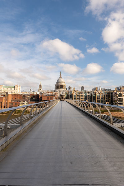 Empty Millennium Bridge on a very sunny day