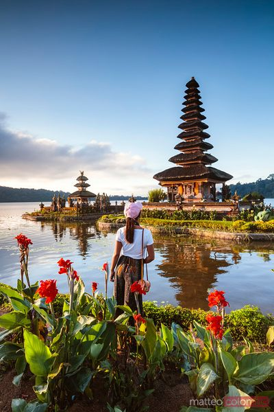 Tourist at Ulun Danu Bratan temple, Bali, Indonesia