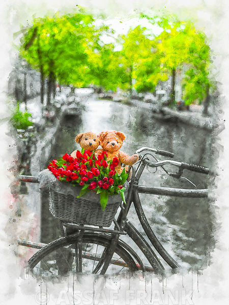 Bicycle with bunch of flowers and Teddy Bears by the canal, Amsterdam