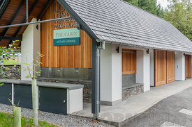 CALlANDER, SCOTLAND AUGUST 24, 2014: tThe Cabin cafe at the Loch Lomond and Trossachs National Park site at Loch Lubnaig near...