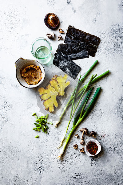Ingredients for vegetarian miso soup.