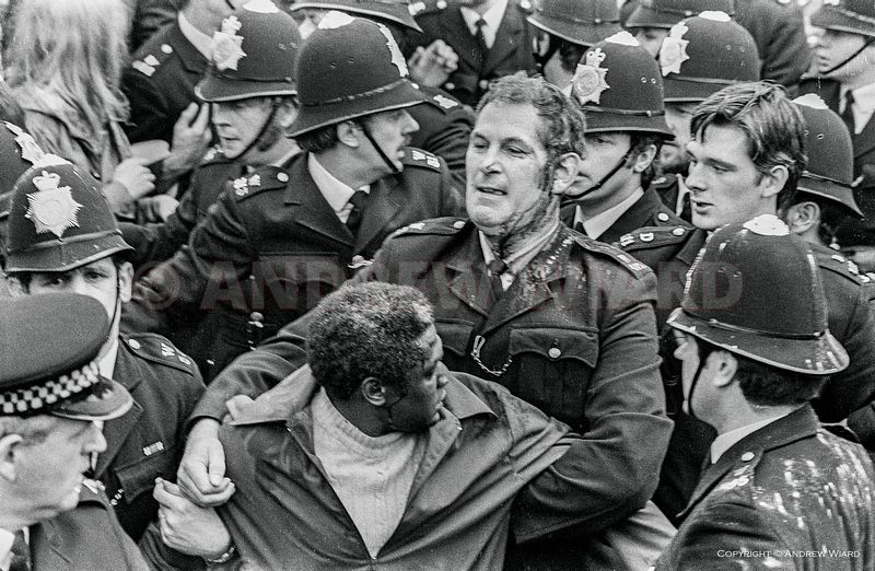 England, UK . 13.8.1977. London . The Battle of Lewisham. Anti-fascist counter-demonstration confront a National Front (NF) m...