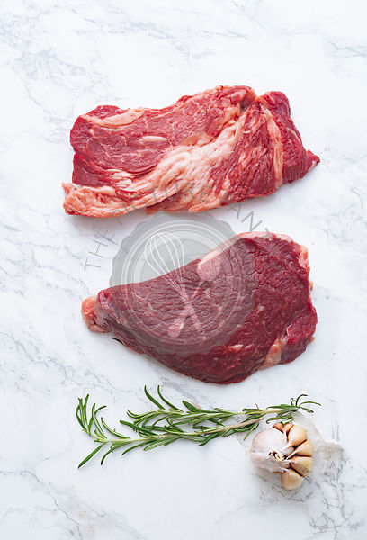Raw black angus prime beef steak variety