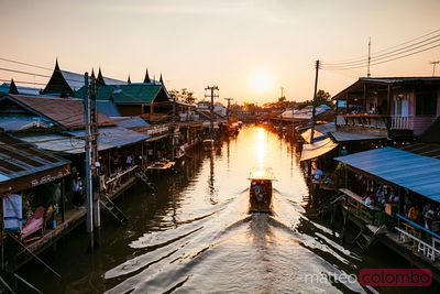 Sunset at Amphawa floating market, Bangkok, Thailand