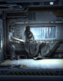 Woman in Space Ship Berth