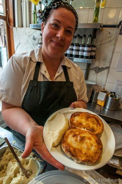Experimental new rabbit pies at G Kelly pie and mash shop at 562 Roman Road E3 5ES, March 8 2016.