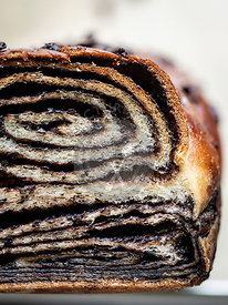 Home made chocolate babka closeup