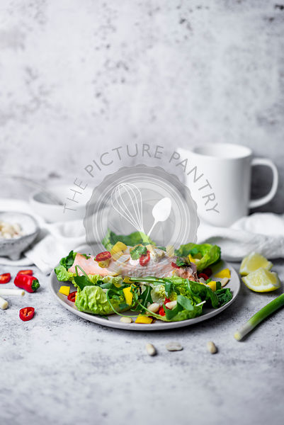 Healthy Salmon Salad With Fresh Fruit And Spring Onions