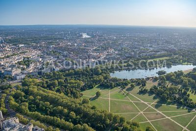 Aerial view of Hyde Park and Knightsbridge, London.