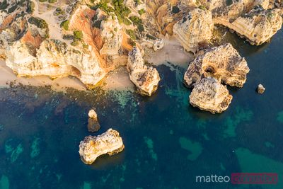 Drone view of the coastline, Lagos, Algarve, Portugal