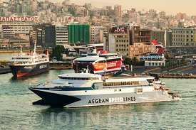 The Ferry  Port of Piraeus Greece.