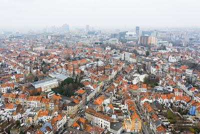 Brussels, Belgium,  January 3, 2021:  . Old town of Brussels view from above. European commission building on the background