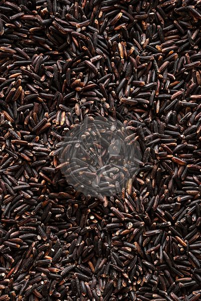 Closeup of raw black rice grains