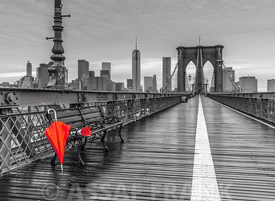 Red umbrella and bunch of roses, Brooklyn bridge, New York