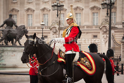 Member of the Life Guards Riding past Buckingham Palace