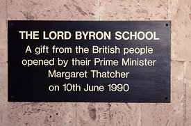 #4630,  Signs listing the main donations which nabled the building of The Lord Byron School, Leninakan (now Gyumri), Armenia....