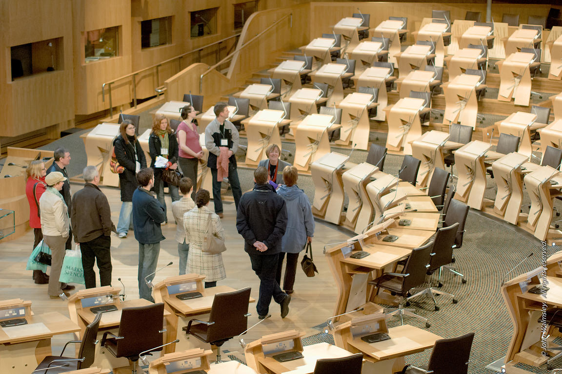#027692,  Guided tour in the debating Chamber at the new Scottish Parliament building at Holyrood, Edinburgh.  Designed by Sp...