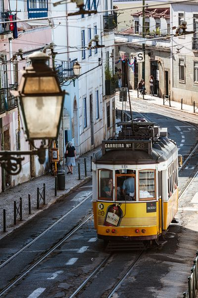 Yellow tram in the Alfama district, Lisbon, Portugal