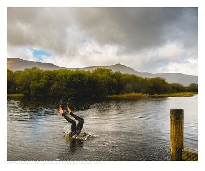 Jumping off Jetty into Derwentwater