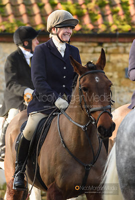 Caroline Stewart at the meet. The Belvoir Hunt at Stonesby 5/2