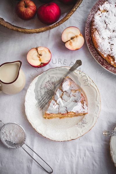 Apple cake on a kitchen table