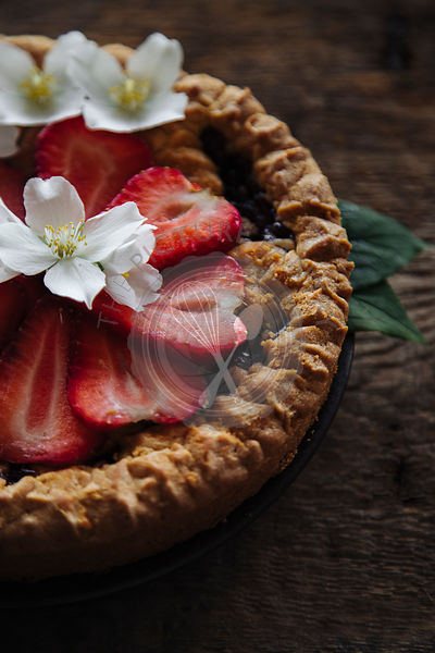 Strawberry tart on a wooden table