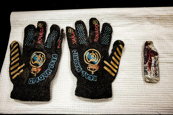 At Labanof, a pair of Real Madrid gloves with the names of Ronaldo and Kaka and a tablet of chocolate, among the finds of the...