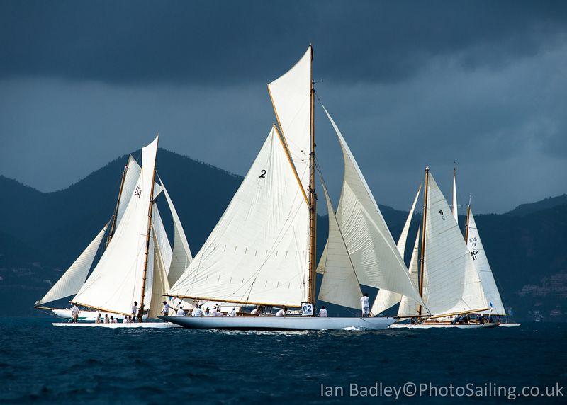 Classic yachts wait with a storm brewing
