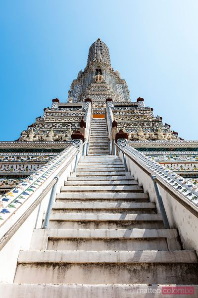 Stairs leading to the top of the stupa, Wat Arun, Bangkok, Thailand