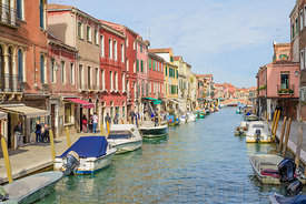MURANO, ITALY - OCTOBER 25, 2017: One of the main canals in Murano, Venice, Italy.
