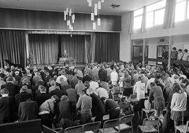 #83626,  Morning assembly, Whitworth Comprehensive School, Whitworth, Lancashire.  1970.  Shot for the book, 'Family and Scho...