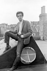 #74845,  Cornelius Cardew, 1970,  Cornelius Cardew (1936-1981), avant-garde musician and composer, on the rooftops, Fitzrovia...
