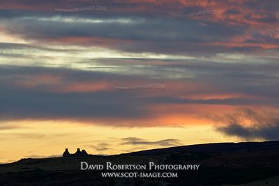 Prints & Stock Image - Ruin on skyline at sunset, near Dava, Badenoch and Strathspey, Highland, Scotland.