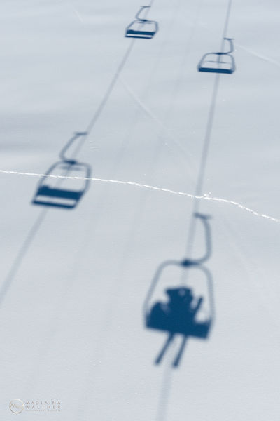 Nostalgic chair lift run. Shot for St. Moritz Magazine.