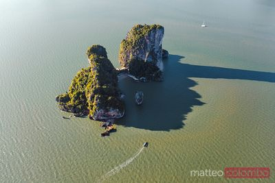 Aerial of James Bond Island, Phang Nga bay, Thailand