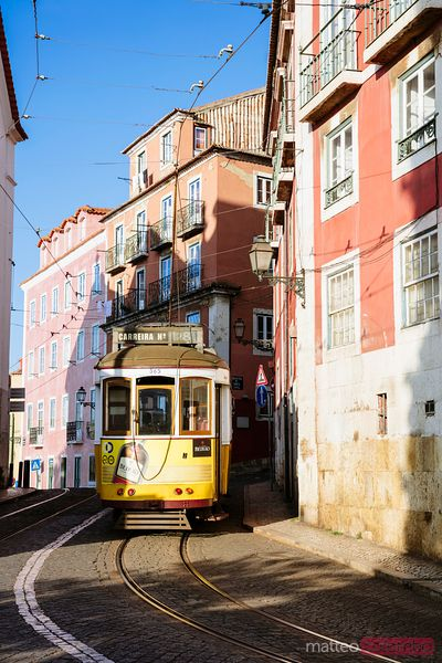 Traditional tram in the street of Lisbon, Portugal