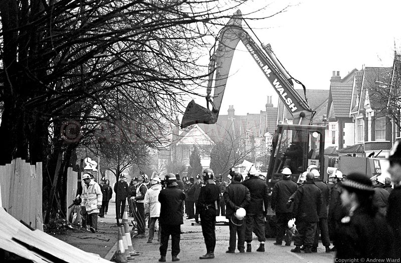 England, UK. 16.2.1994. London. Wanstonia eviction in the path of the M11 motorway construction..