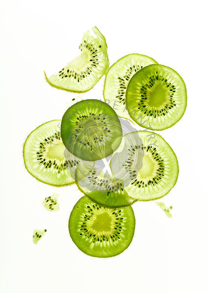 Backlit kiwi fruit slices