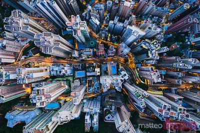Aerial view of skyscrapers and streets at dusk, Hong Kong