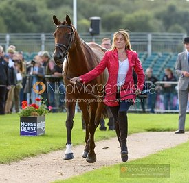 Piggy French and VANIR KAMIRA at the trot up, Land Rover Burghley Horse Trials 2019